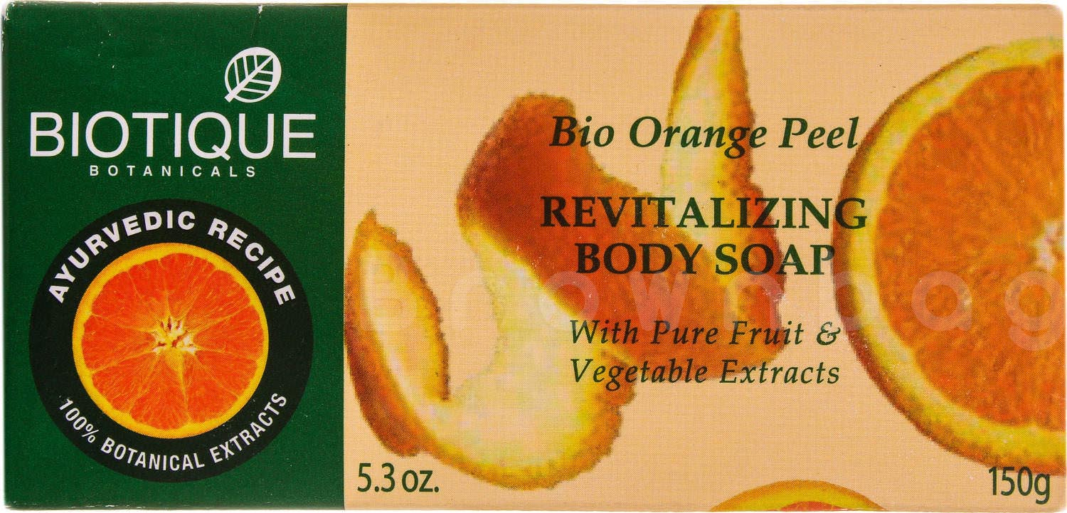 BIOTIQUE Botanicals Bio Orange Peel Revitalizing Body Soap with Pure Fruit & Vegetable Extracts