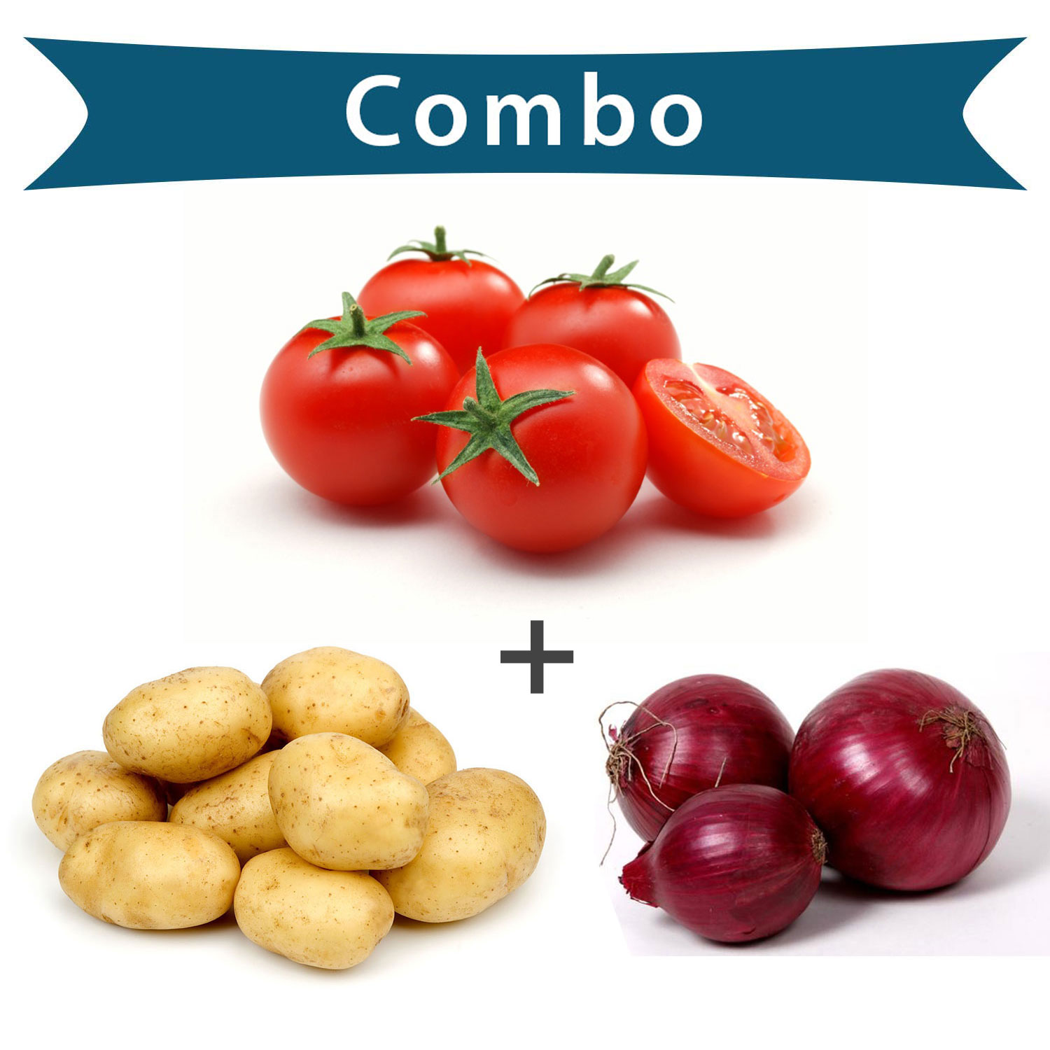 BB Fresh Potato Onion Tomato 1 Kg Each Combo - 3 Items