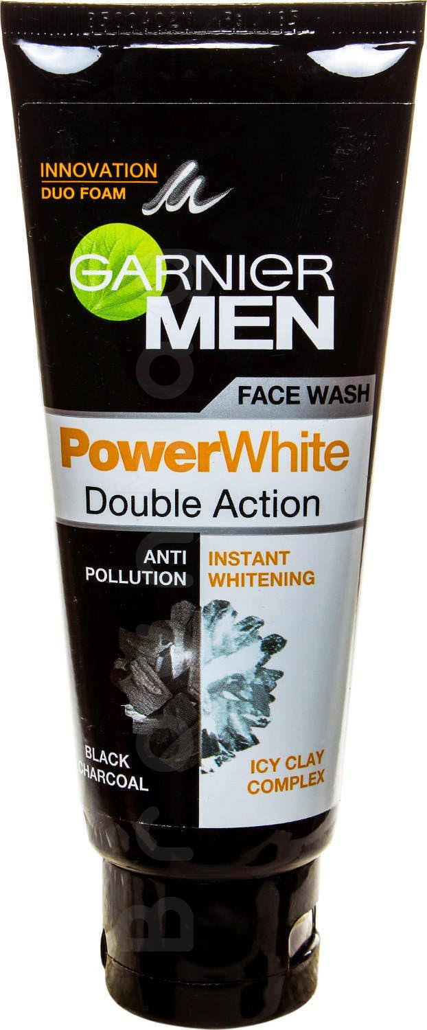Garnier Men Power White Double Action Face Wash with Black Charcoal & Icy Clay Complex