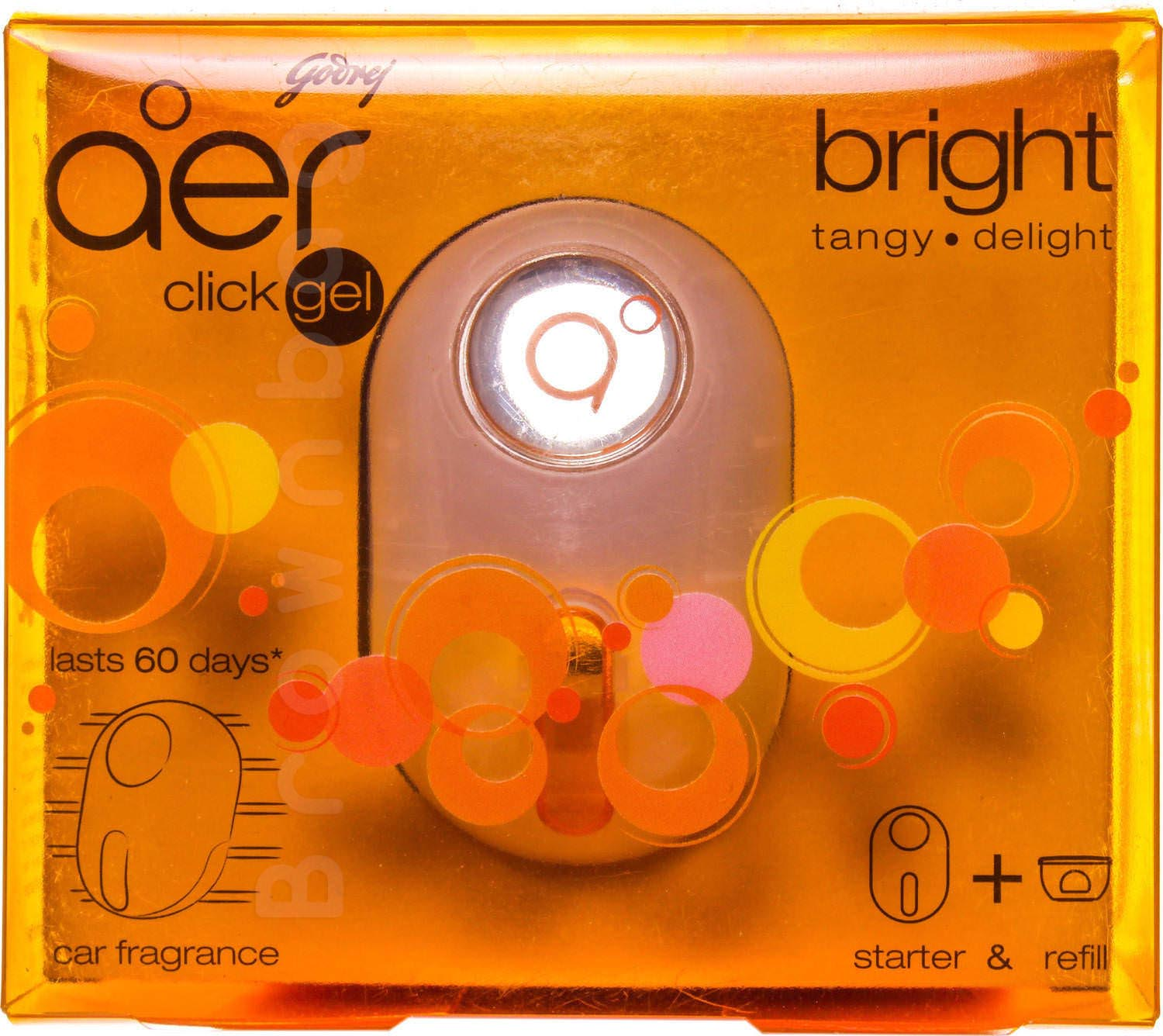 Godrej Aer Click Gel Car Fragrance with Bright Tangy Delight