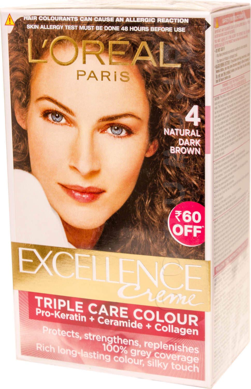 Loreal Paris Excellence Cream Triple Care Hair Colour, Natural Dark Brown 4 with Pro-Keratin, Ceramide & Collagen