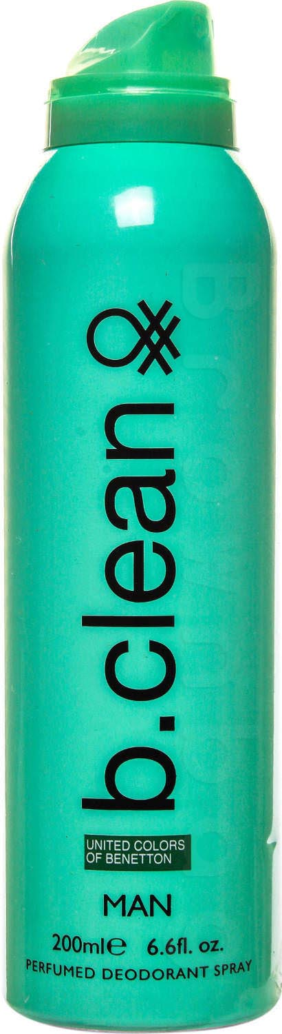 United Colors of Benetton B. Clean Perfumed Deodorant Spray For Men, Green