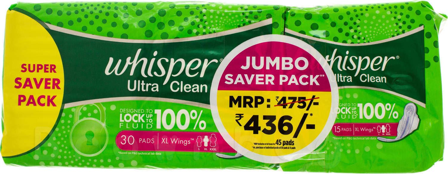 Whisper Ultra Clean XL Wings Pads Jumbo Saver Pack + Free 15 Units